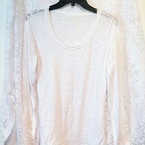 Maurices Size Large White Long Sleeve Burnout Top